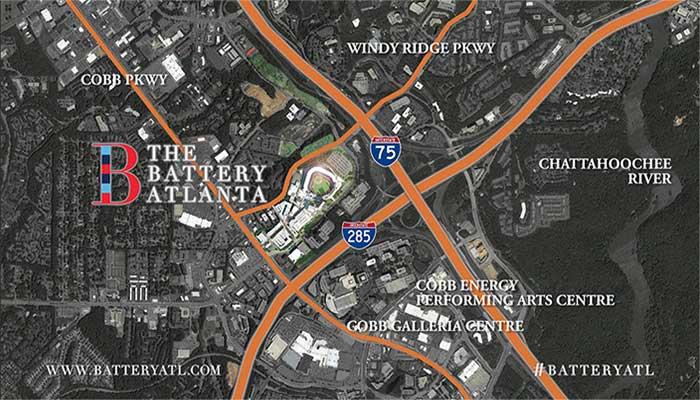 Battery Atlanta Map.One Ballpark Center Pope And Land